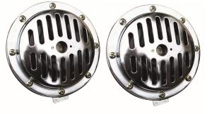 Classic Steel Large Slotted Grill Chrome Horns Pair