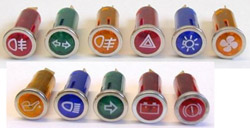 Dashboard Warning Lights With Chrome Bezel & Symbol